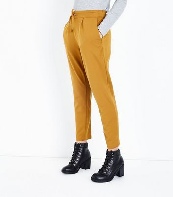 JDY Rust Tie Waist Slim Leg Trousers New Look