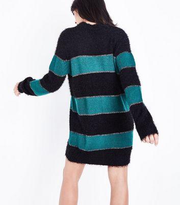 JDY Black Contrast Glitter Stripe Jumper Dress New Look