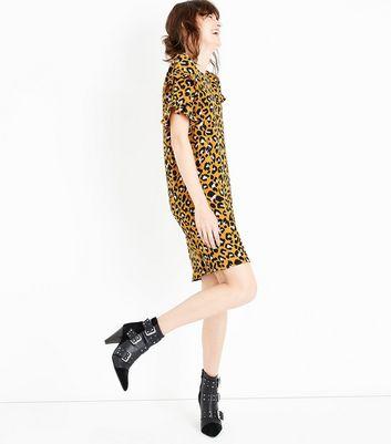 JDY Orange Frill Sleeve Leopard Print Dress New Look
