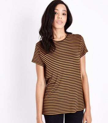 JDY Orange Stripe T-Shirt New Look