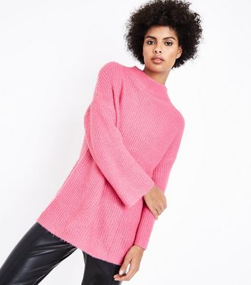 JDY Pink High Neck Ribbed Jumper New Look