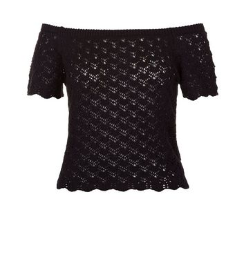 Black Crochet Lace Bardot Neck Top New Look