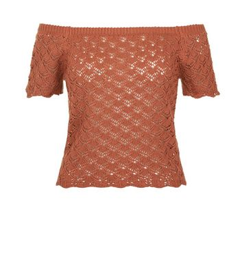 Light Brown Crochet Lace Bardot Neck Top New Look