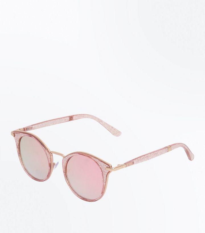 44501c220d Pink Glitter Mirror Lens Sunglasses
