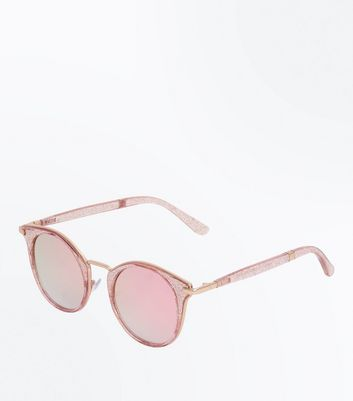 Pink Glitter Mirror Lens Sunglasses New Look