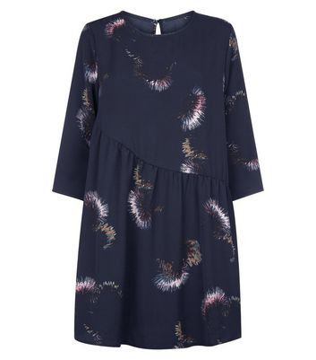 JDY Black Thistle Print Asymmetric Smock Dress New Look