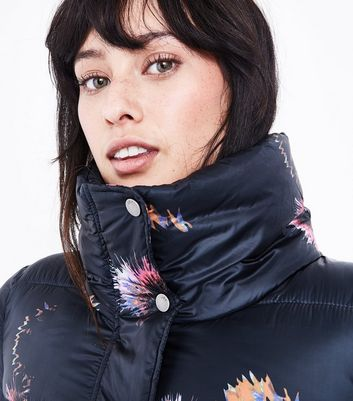 JDY Black Thistle Print Puffer Jacket New Look