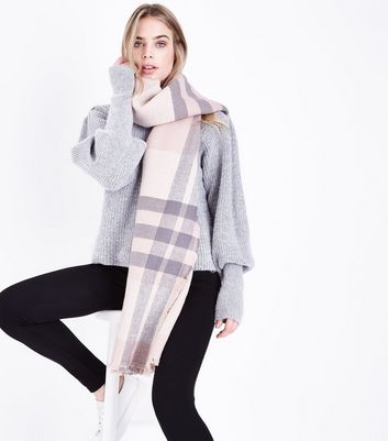 Pink Check Print Oversized Scarf New Look
