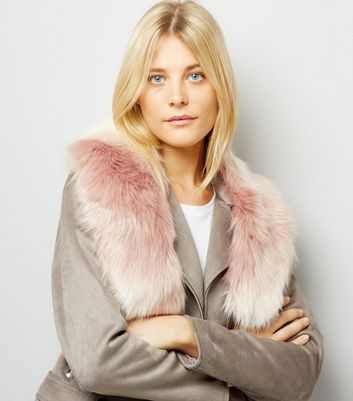 Pink Faux Fur Collar New Look