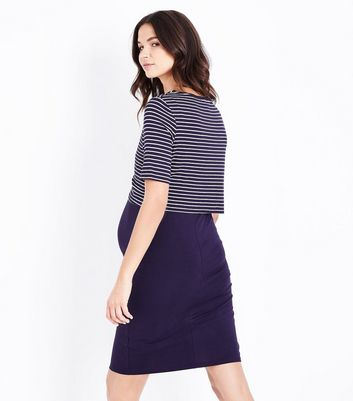 Maternity Blue Stripe Layered Nursing Dress New Look