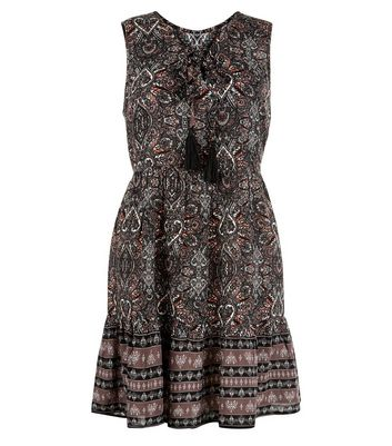 Apricot Coral Paisley Print Lace Up Dress New Look