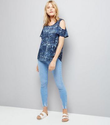 Apricot Blue Abstract Print Cold Shoulder Top New Look