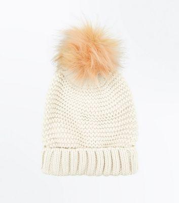 Pink Knit Faux Fur Bobble Hat New Look