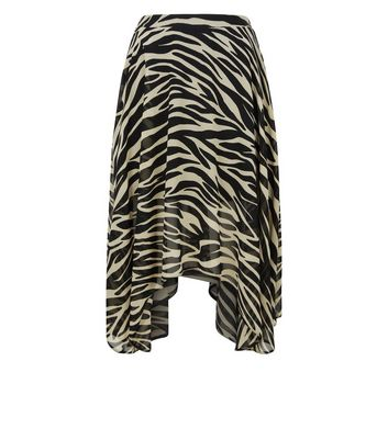 Black Zebra Print Hanky Hem Midi Skirt New Look
