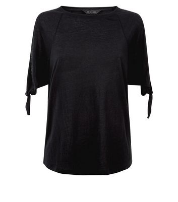Black Tie Sleeve Cold Shoulder T-Shirt New Look