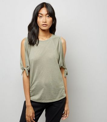 Khaki Tie Sleeve Cold Shoulder T-Shirt New Look