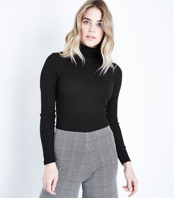 Black Ribbed Funnel Neck Jumper New Look