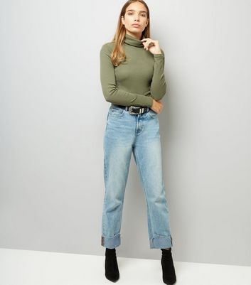 Olive Green Ribbed Funnel Neck Top New Look