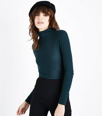 Dark Green Ribbed Funnel Neck Top New Look