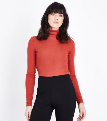 Coral Ribbed Funnel Neck Neck Top New Look