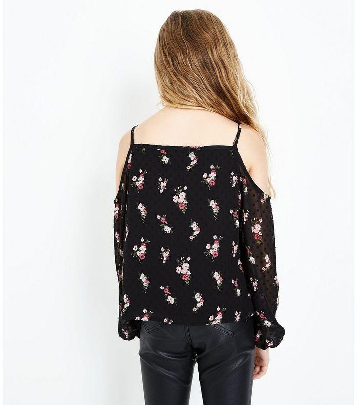 6da293f9526015 Home · Girls Sale · Tops · Teens Black Floral Mesh Cold Shoulder Top. ×. ×.  ×. Shop the look