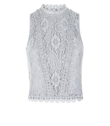 Teens Grey Lace High Neck Sleeveless Top New Look