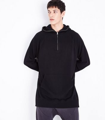 Black Zip Longline Hoodie New Look