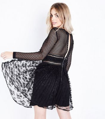 Petite Black Fishnet Lace Pleated Dress New Look