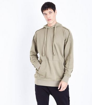Olive Green Seam Trim Hoodie New Look