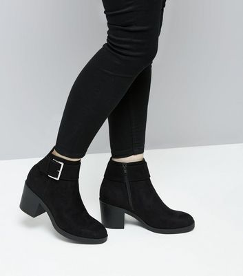 Teens Black Suedette Buckle Boots New Look