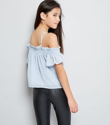 Teens Pale Blue Spot Cold Shoulder Top New Look