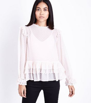 Petite Shell Pink Spot Mesh Frill Trim Blouse New Look
