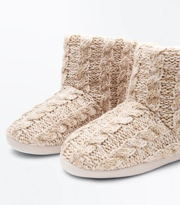 Pink Knitted Slipper Boots New Look
