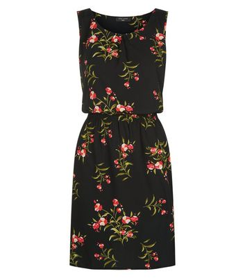 Tall Black Floral Blossom Print Tea Dress New Look
