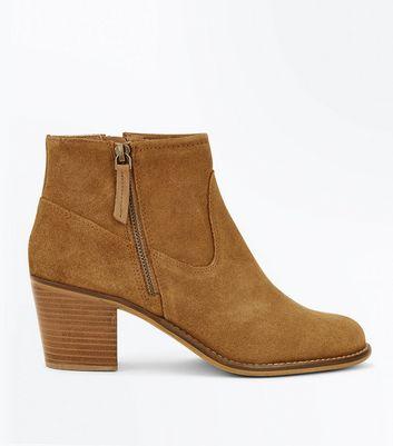 Tan Suede Block Heel Western Boots New Look