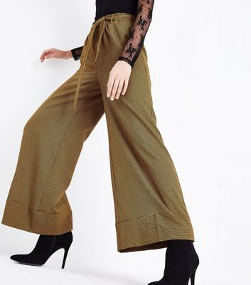 Yellow Check Paperbag Wide Leg Trousers New Look