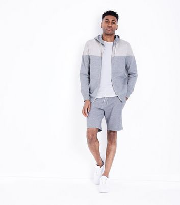Grey Colour Block ZIp Front Hoodie New Look