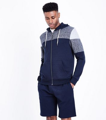 Navy Colour Block Zip Front Hoodie New Look