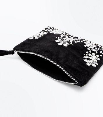 Black Floral Embellished Clutch Bag New Look