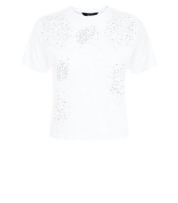 Teens White Gem Embellished T-Shirt New Look