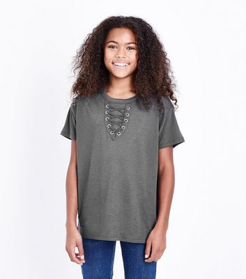 Teens Dark Grey Lattice Front T-Shirt New Look