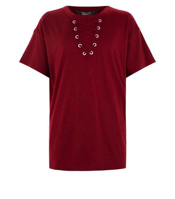 Teens Burgundy Lace Up Front Oversized T-Shirt New Look