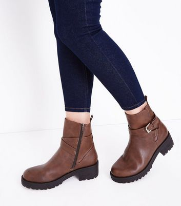 Brown Faux Fur Lined Biker Boots New Look