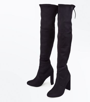 Black Satin Tie Back Heeled Over the Knee Boots New Look