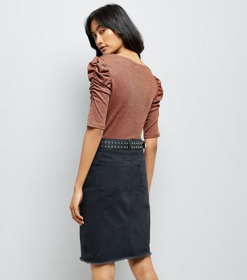 Brown Metallic Ruched Sleeve T-Shirt New Look