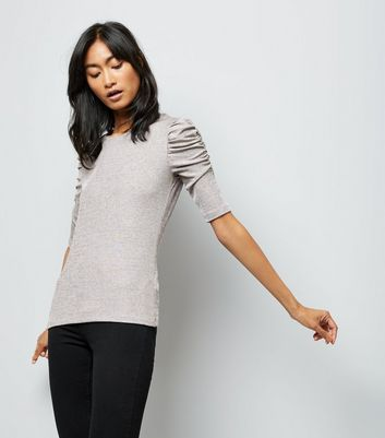 Grey Ruched Sleeve T-shirt New Look