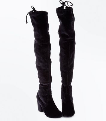 Black Velvet Over The Knee Heeled Boots New Look