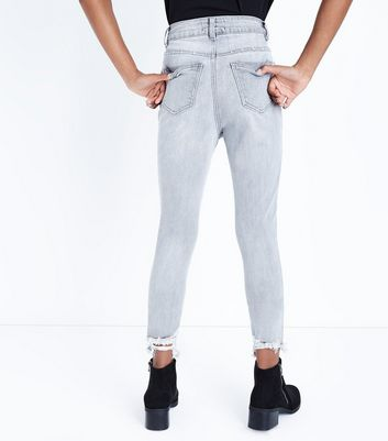 Teens Grey Ripped Hem Skinny Jeans New Look