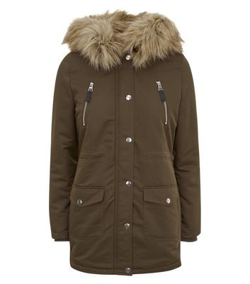 Teens Khaki Faux Fur Trim Hooded Parka New Look