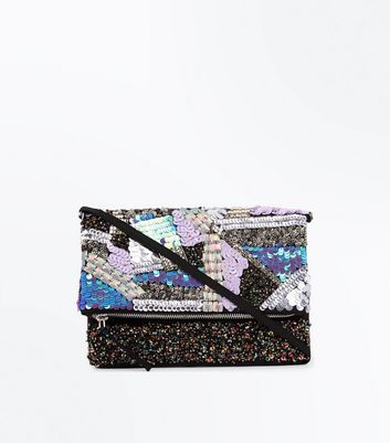 Blue Patchwork Sequin Foldover Clutch New Look